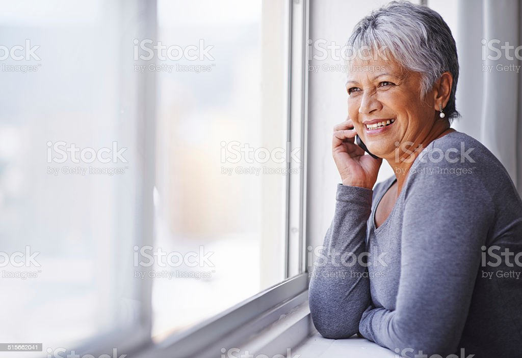 Having a nice chat with an old friend stock photo