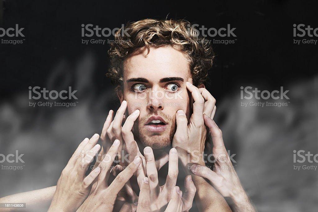 Having a paranoid hallucination royalty-free stock photo