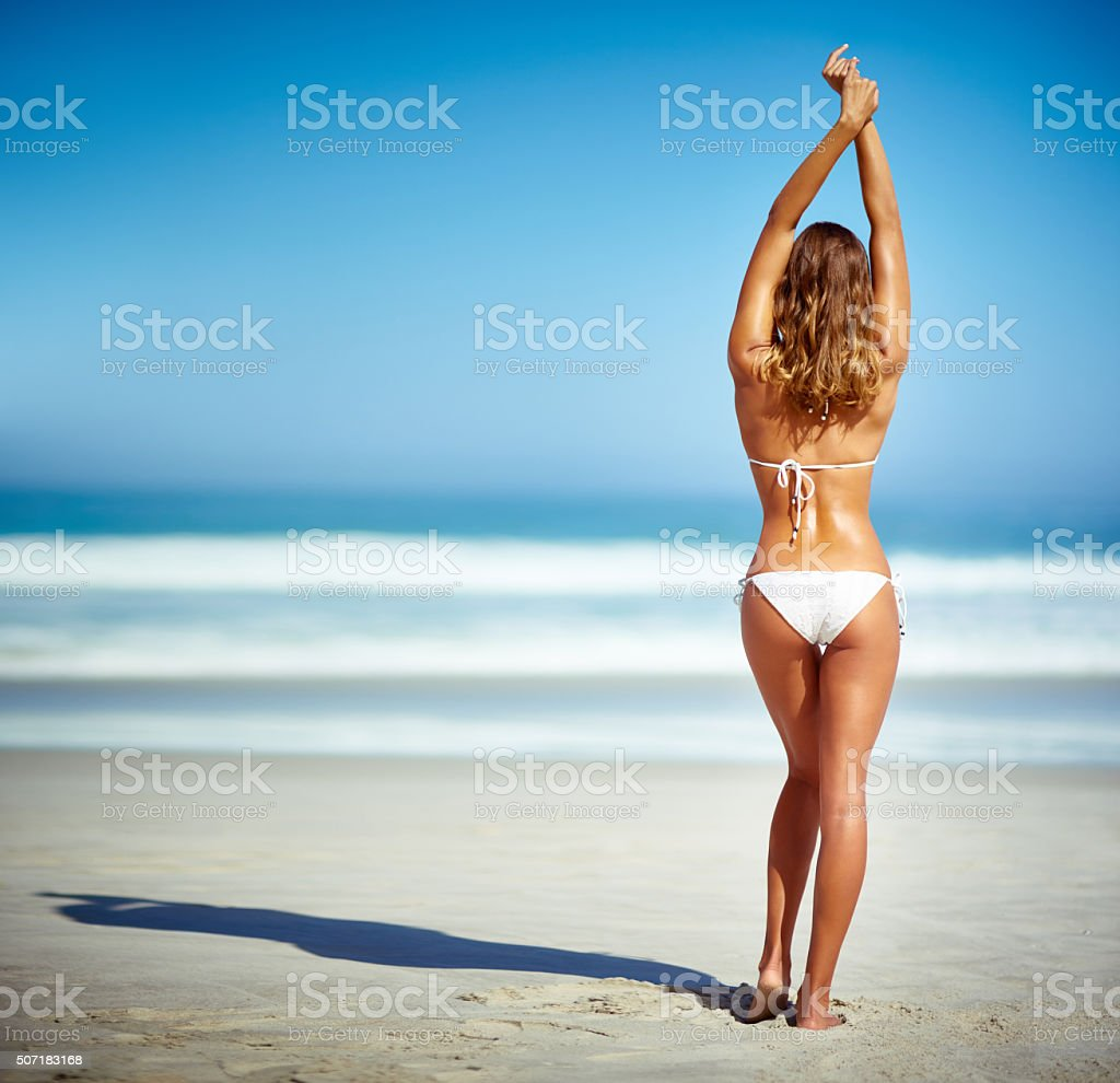 Having a sand-sational time stock photo