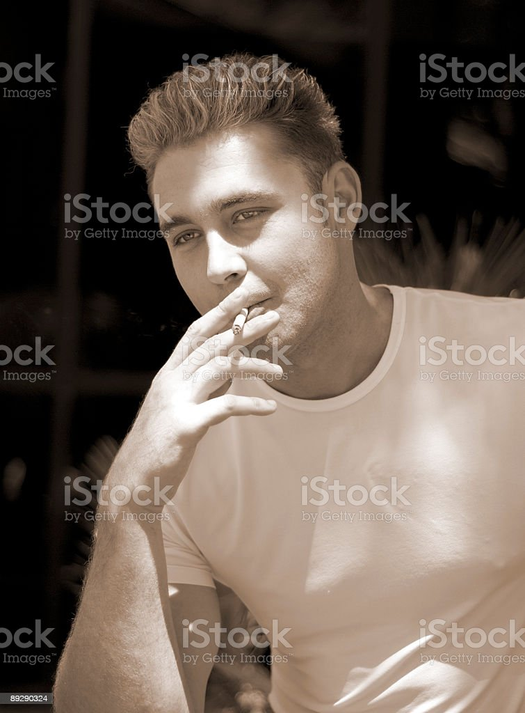 Having a Smoke - Relaxing Moment royalty-free stock photo
