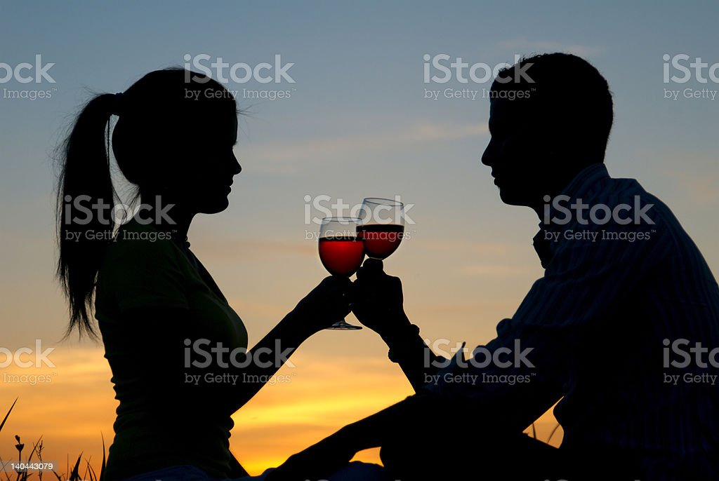 Having a toast at the sunrise royalty-free stock photo