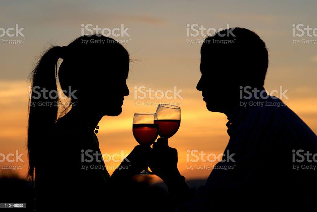 Having a toast at the sunrise royalty-free stock photo
