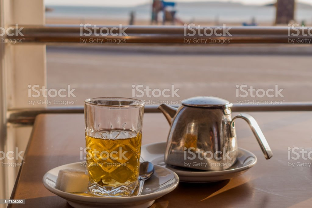 Having a traditional mint tea in Morocco. stock photo