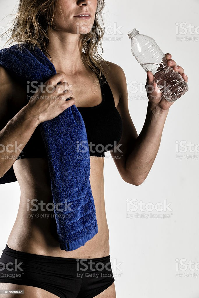 Having a Water After Tranning royalty-free stock photo