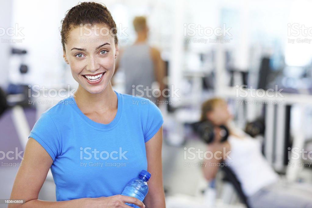 Having a water break between sessions royalty-free stock photo