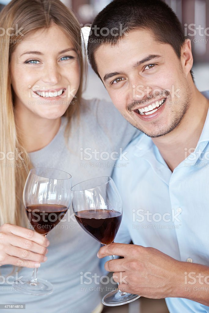 Having a well deserved glass of wine royalty-free stock photo
