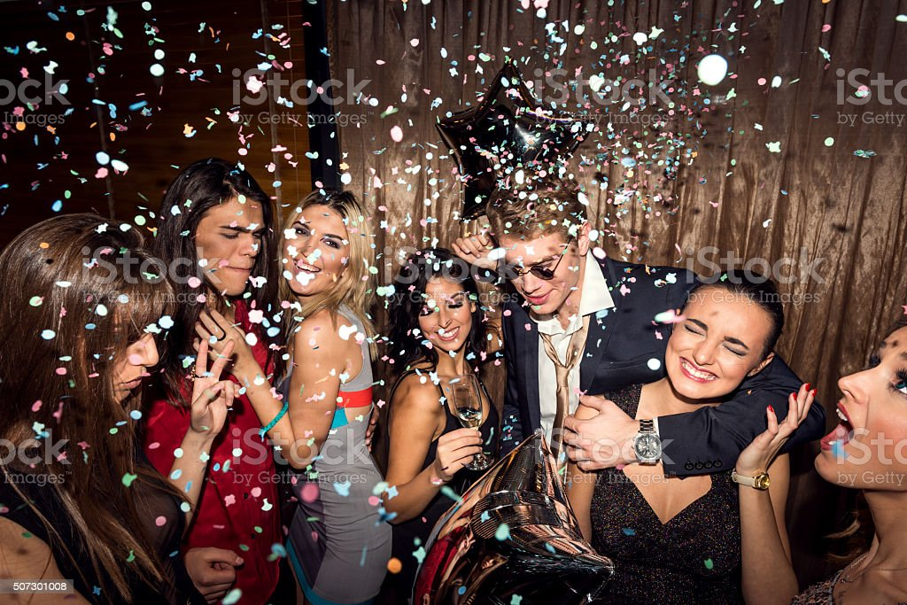 Having an awesome party stock photo