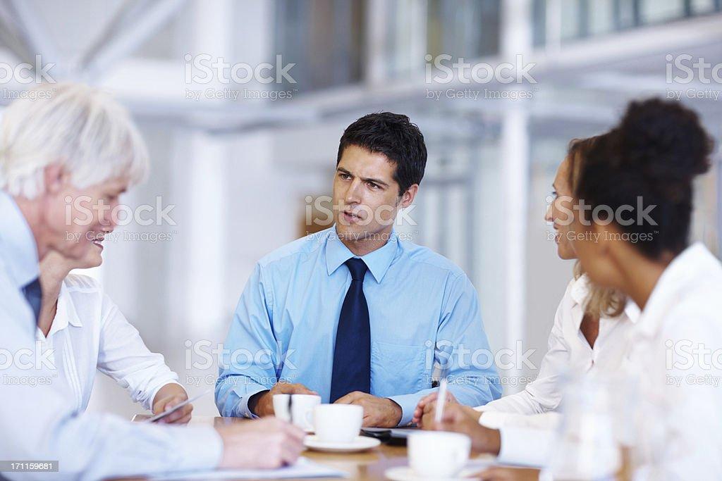 Having an intense business meeting royalty-free stock photo