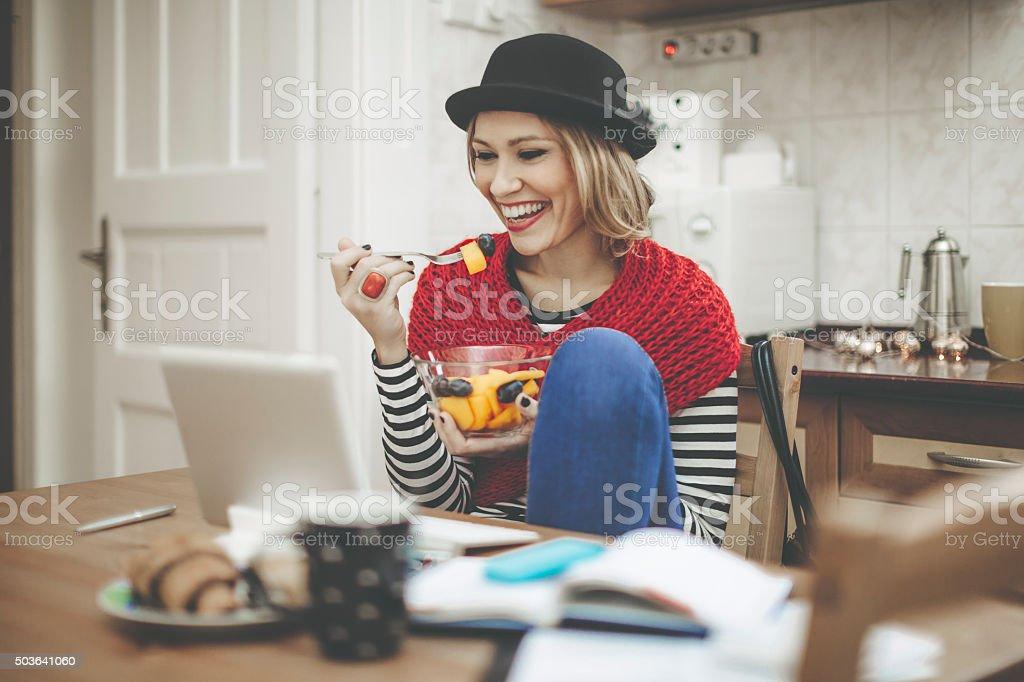 Having breakfast at home stock photo