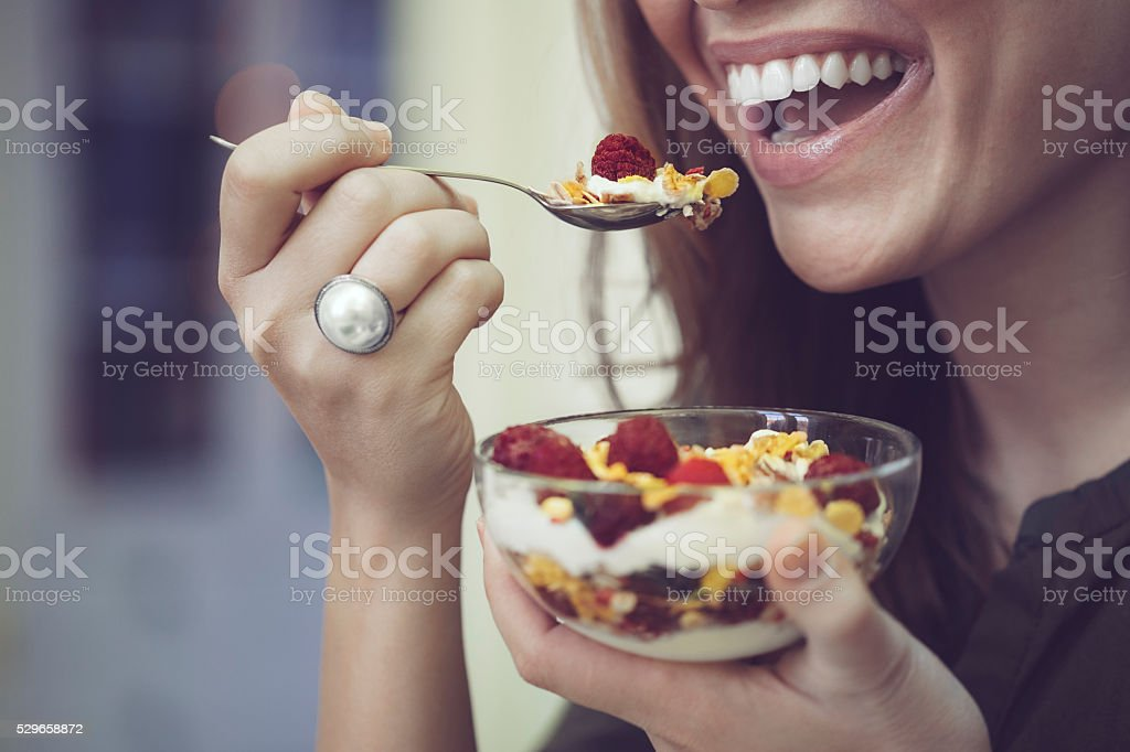 Having breakfast stock photo