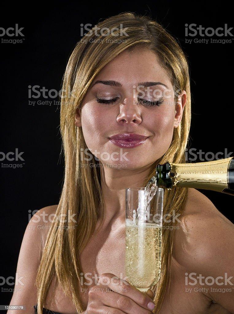 Having champagne royalty-free stock photo