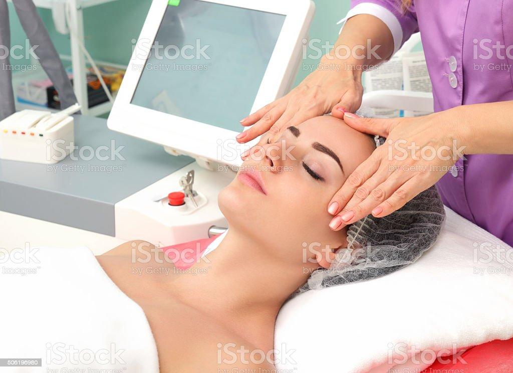 Having cosmetic massage royalty-free stock photo