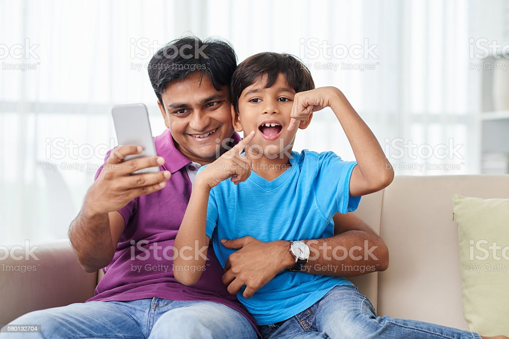 Having fun at home stock photo
