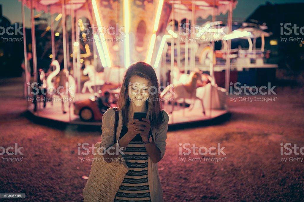 Having fun at the amusement park stock photo