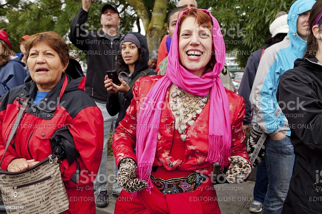 Having fun at the parade royalty-free stock photo