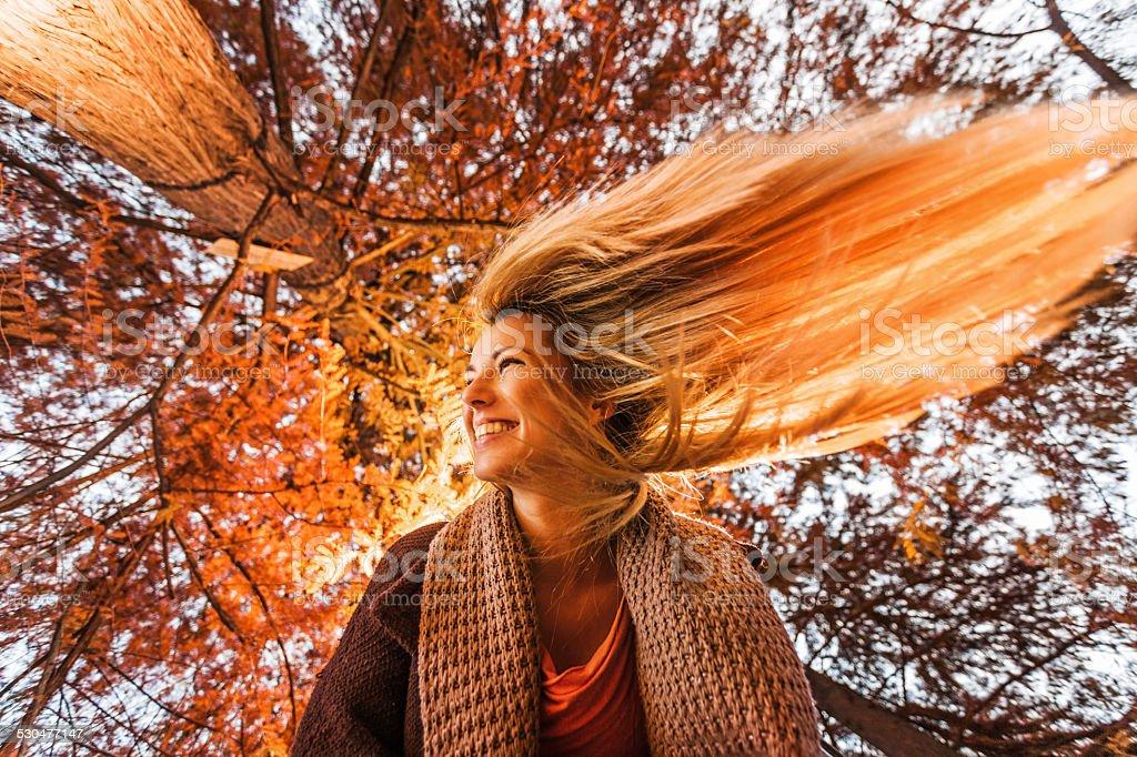 Having fun in autumn. stock photo