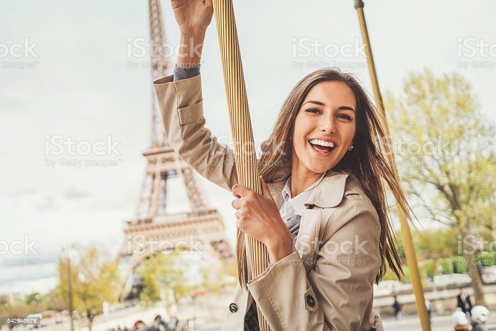 Having fun in Paris city stock photo