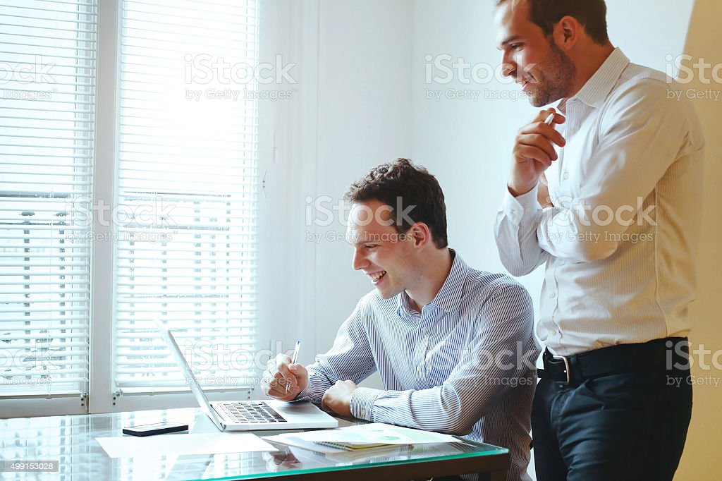 having fun in the office stock photo