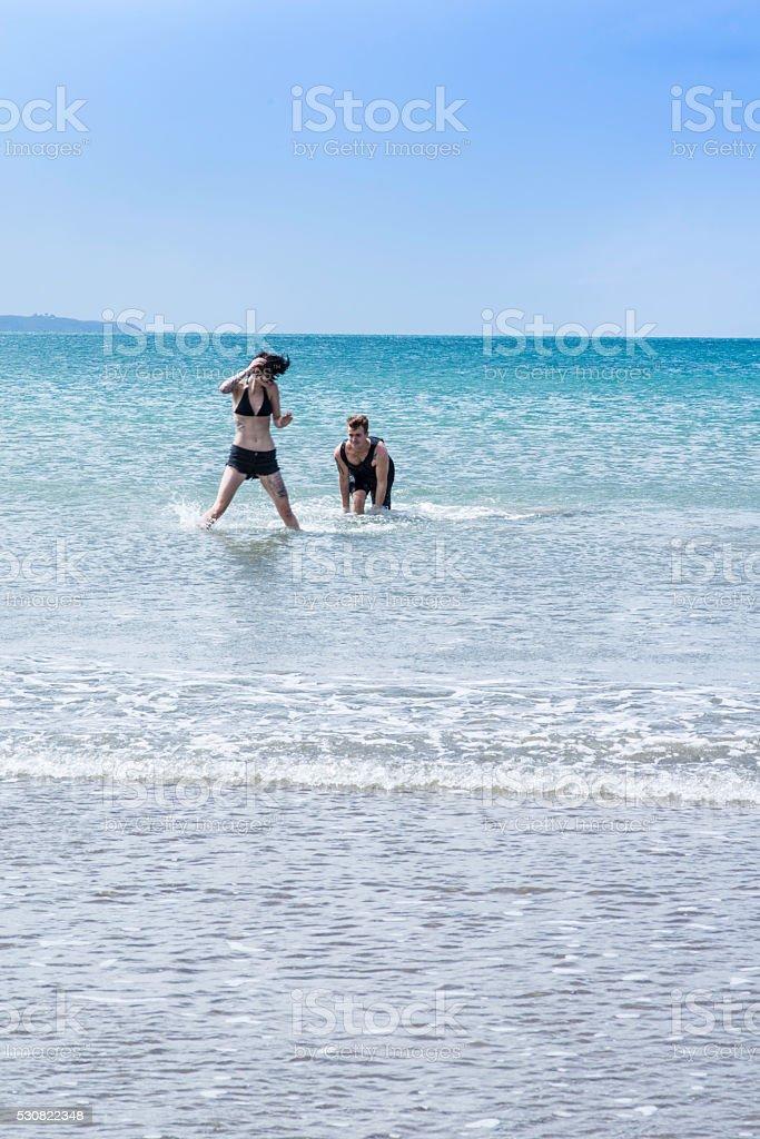 Having fun in the water stock photo