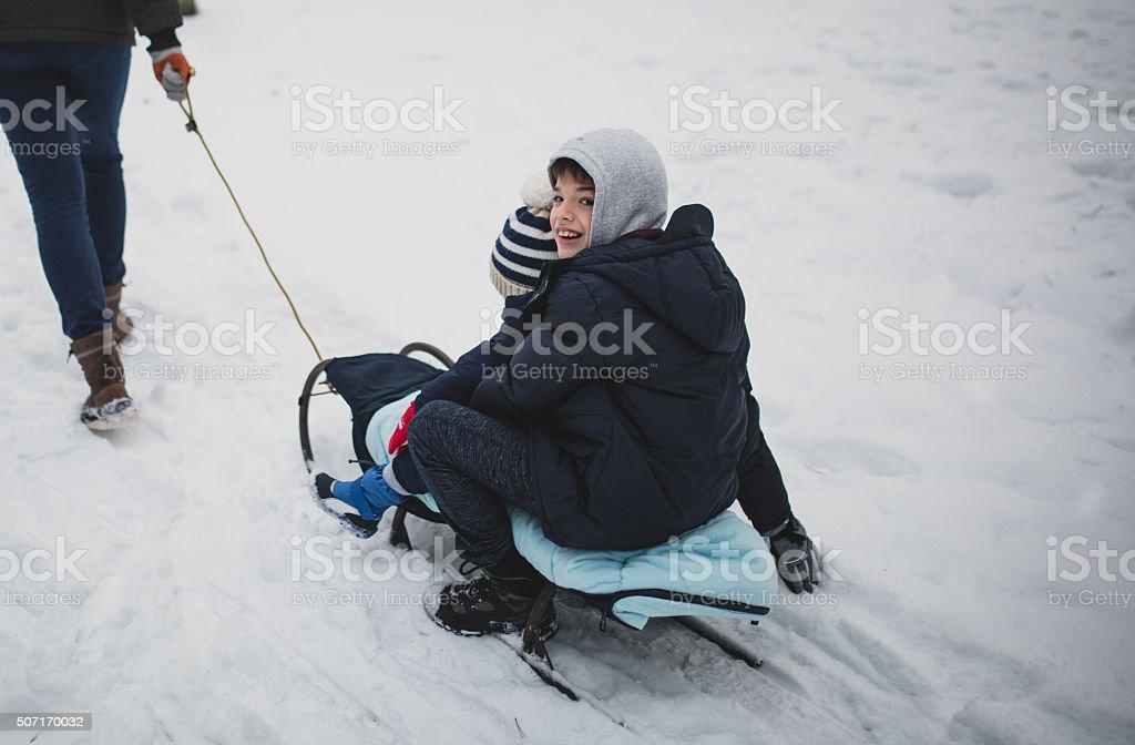 Having fun in winter stock photo