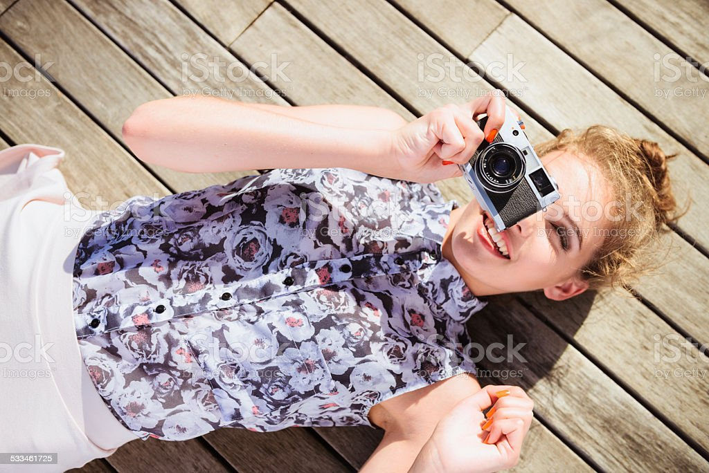 Having fun taking a photo stock photo