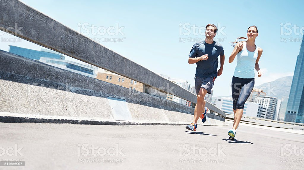 Having fun together while getting fit stock photo