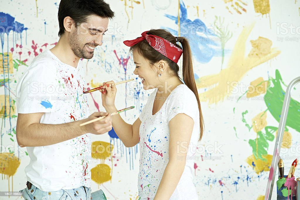 Having fun while painting royalty-free stock photo