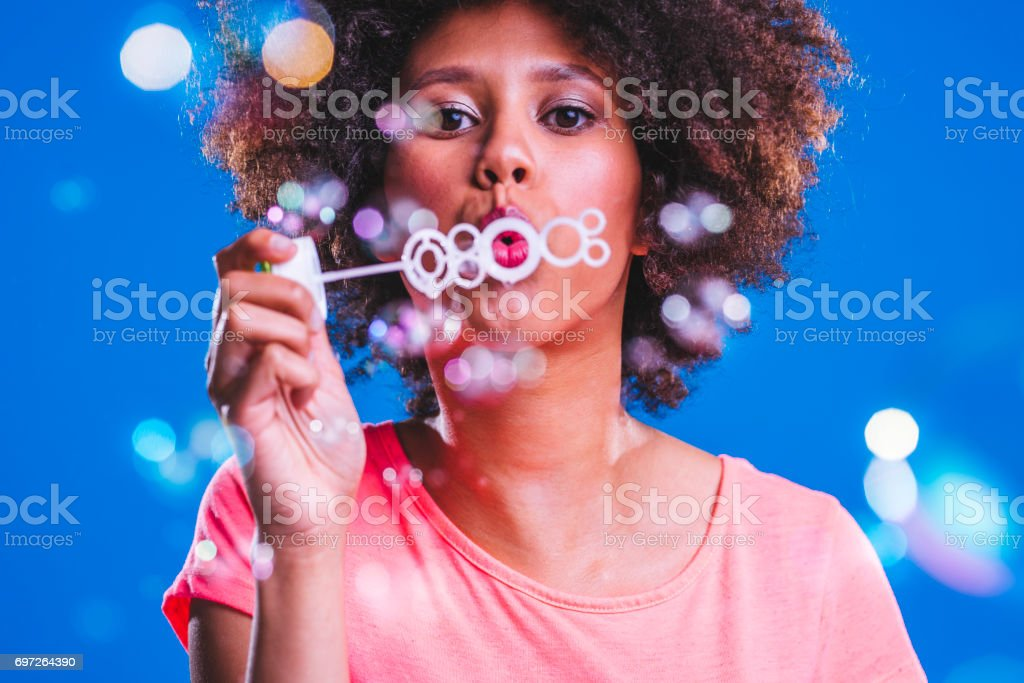 Having fun with bubbles stock photo