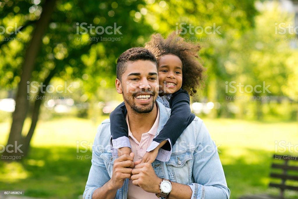 Having fun with daughter. stock photo
