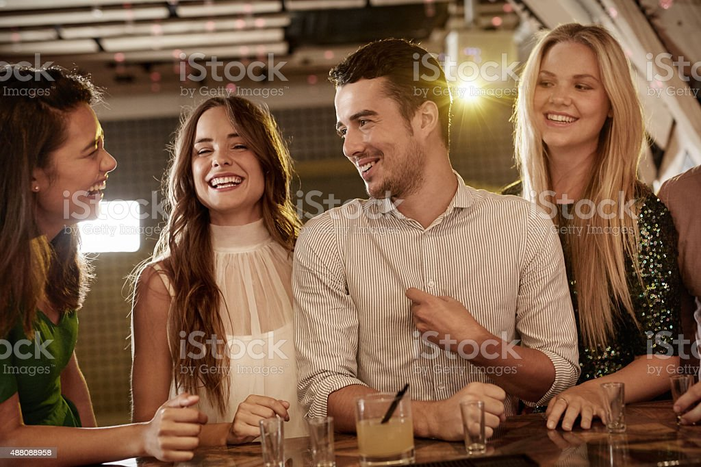 Having fun with friends stock photo