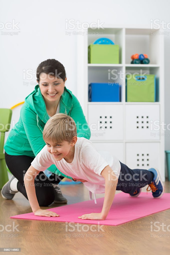 Having fun with the physiotherapy stock photo