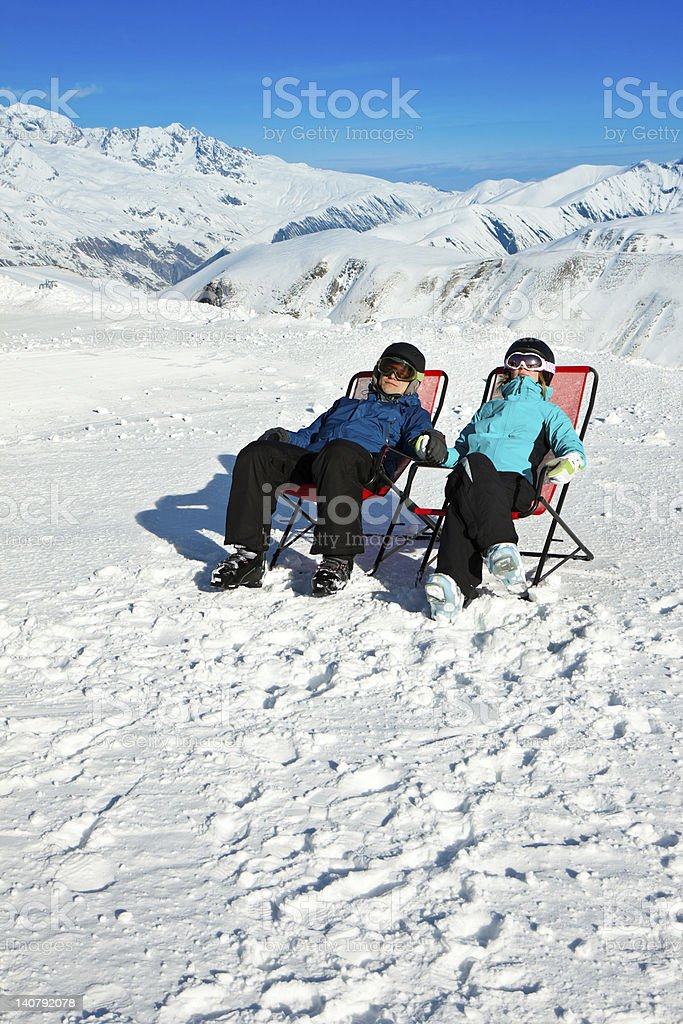 Having good time. Winter skiing vacation royalty-free stock photo