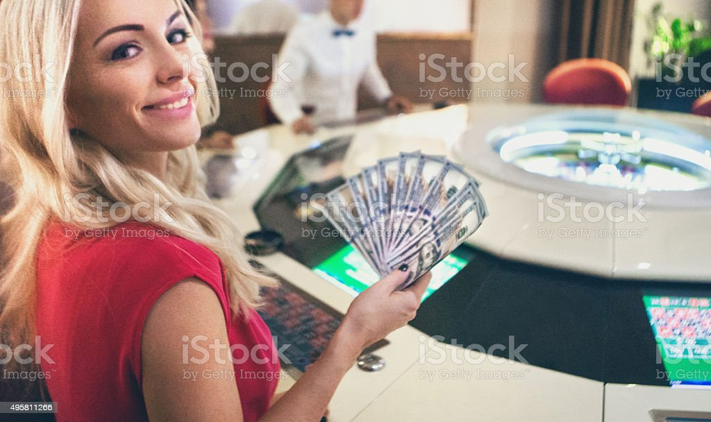 Having luck at roulette game. stock photo