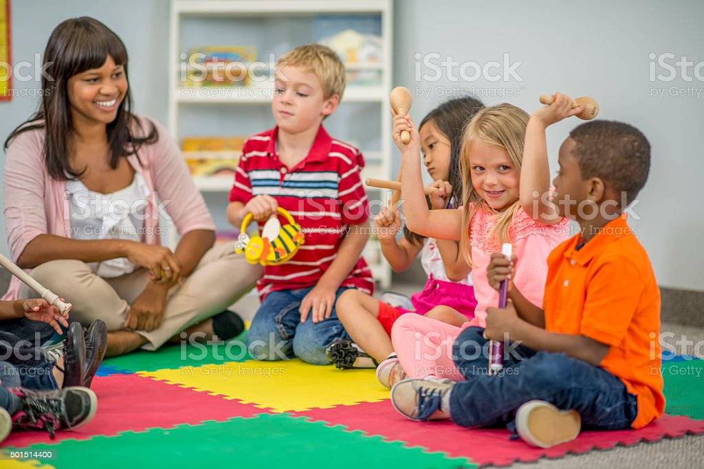 Having Music Time in Class Together stock photo