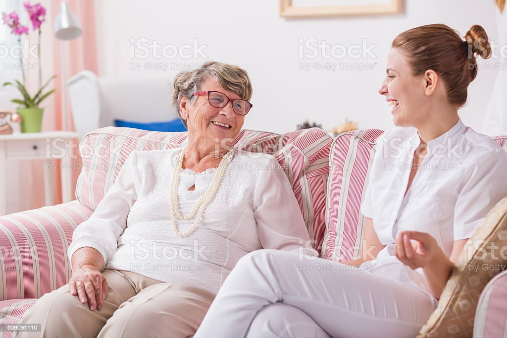 Having no problems with intergenerational communication stock photo