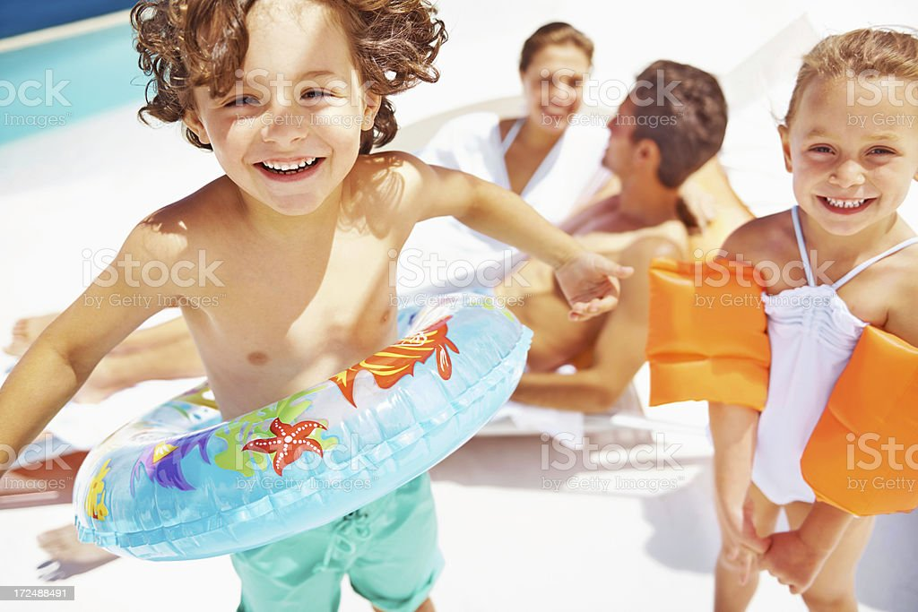 Having plenty of summer holiday fun! stock photo