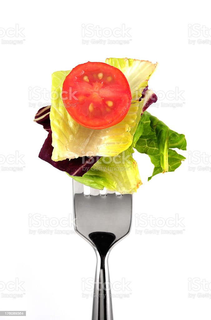 having salad with fork royalty-free stock photo