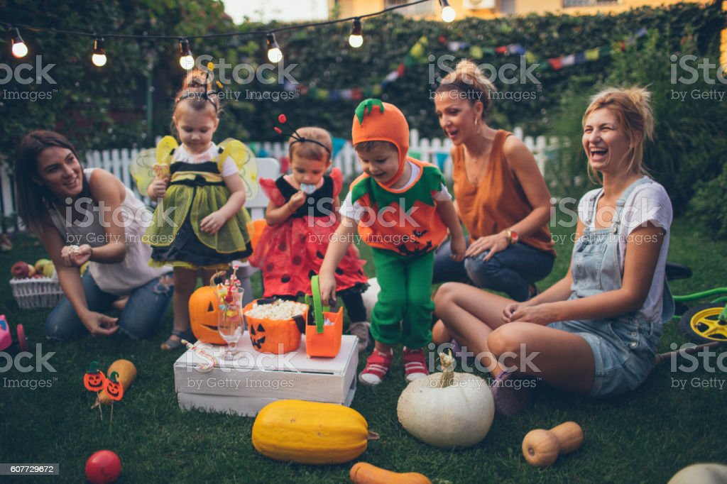 Having some Halloween candy stock photo