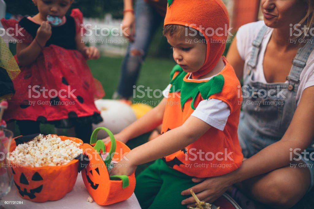 Having some Halloween candy stock photo