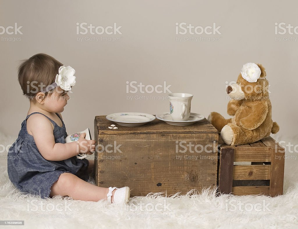 Having Tea with Teddy stock photo