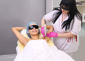 Having underarm laser hair removal epilation