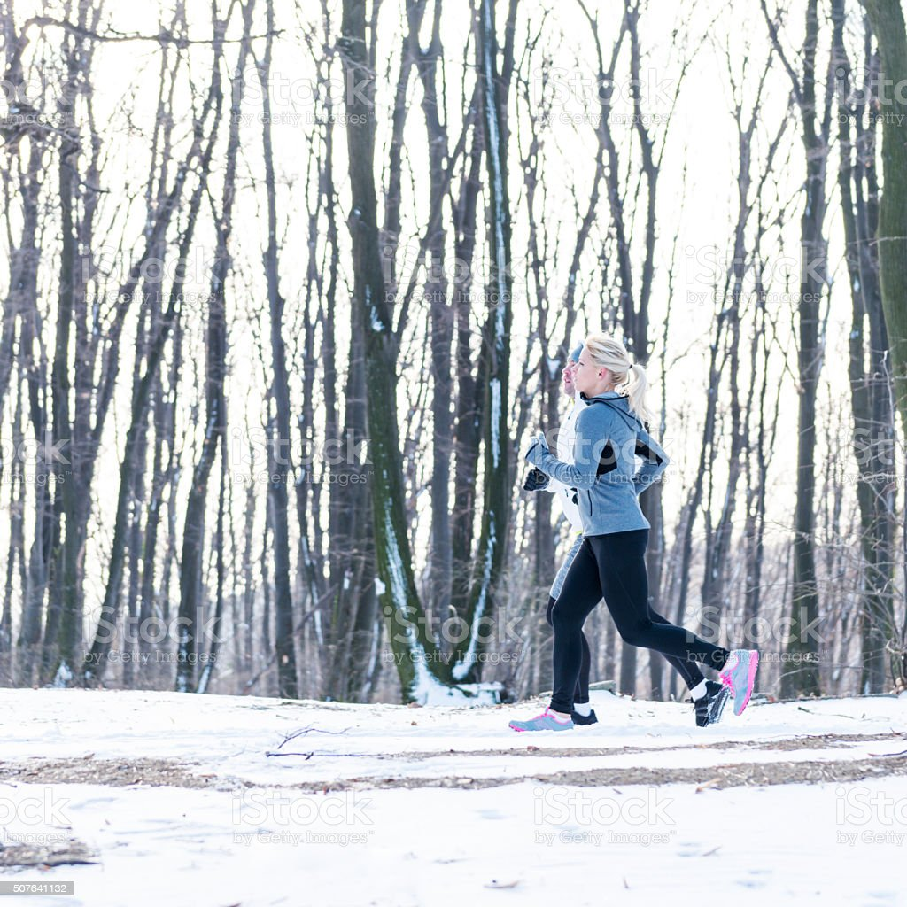 Having winter exercise stock photo