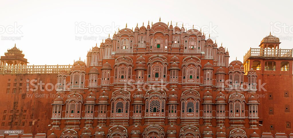 Hawa Mahal Palace of the Winds Panorama stock photo