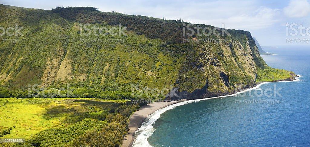 Hawaii Amazing Waipio Valley and Pristine Beach stock photo