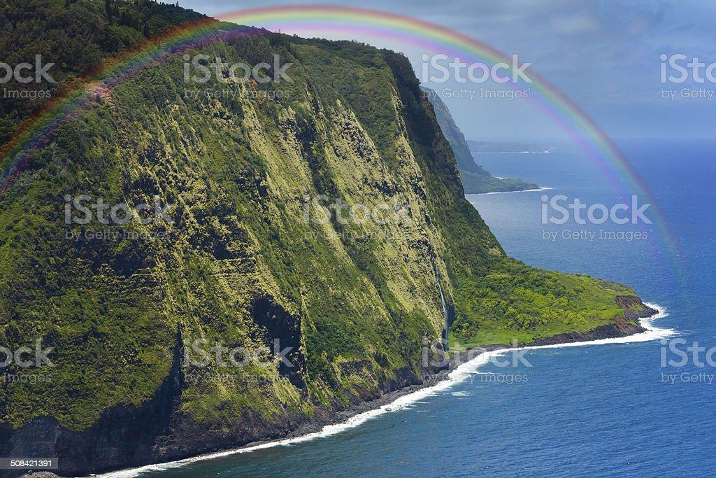 Hawaii Amazing Waipio Valley With Rainbow stock photo