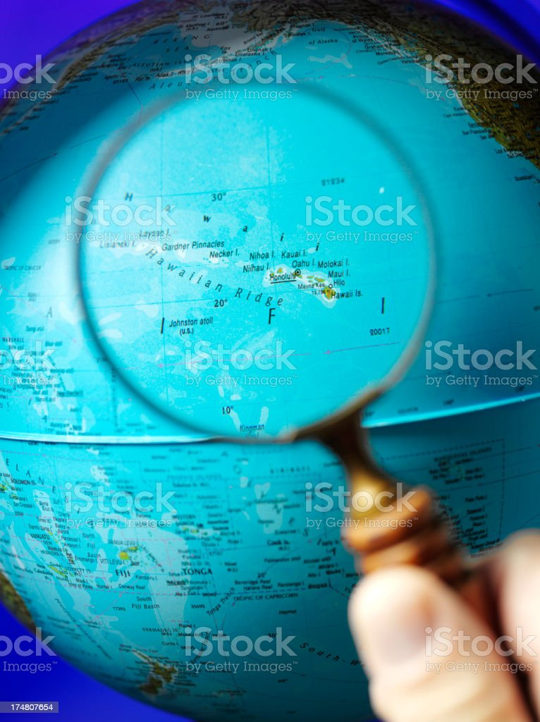 Hawaii and the Pacific through a Magnifying Glass royalty-free stock photo