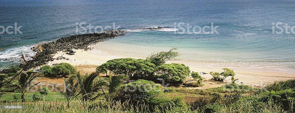 Hawaii beach and snorkeling cove panorama royalty-free stock photo