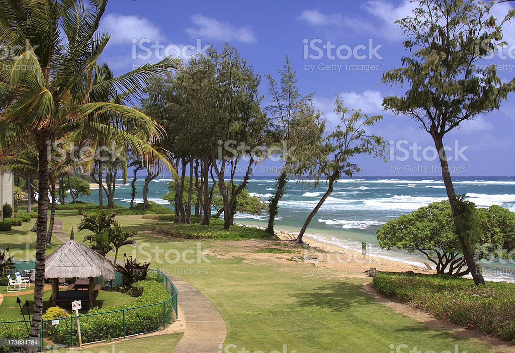Hawaii beach front resort stock photo