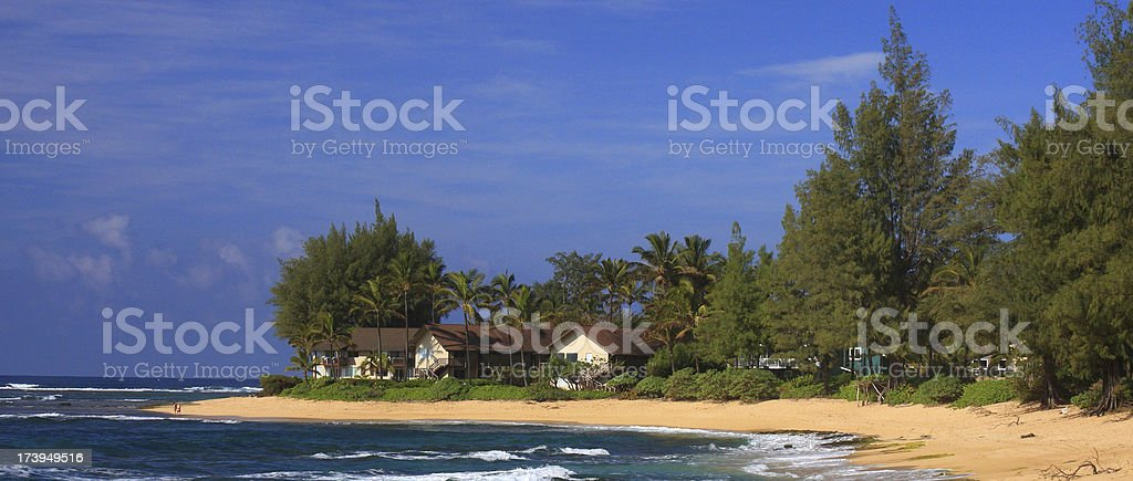Hawaii beach front resort stock photo