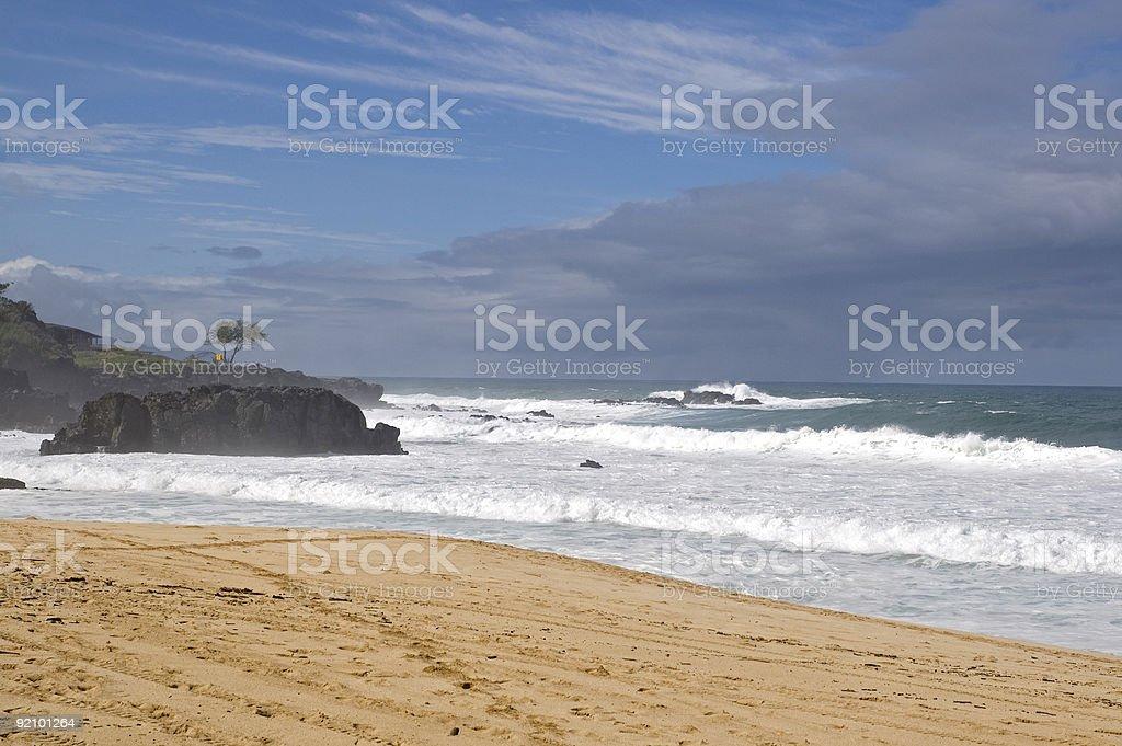 Hawaii beach in hazy skies stock photo